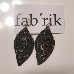 Black and Gold Faux Leather Earrings - NWT